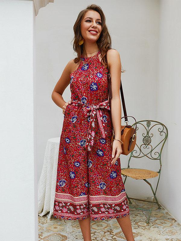 Vacation Printed Bandage Jumpsuits