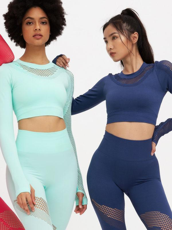 Sexy Hollow Long Sleeves Yoga Suits