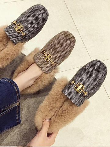 Metal Buckle Artificial Fur Plus Velvet Mid-Heeled Mules