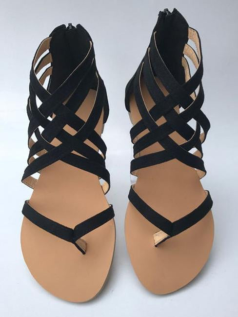 Crossover Strap Low-heel Shoes