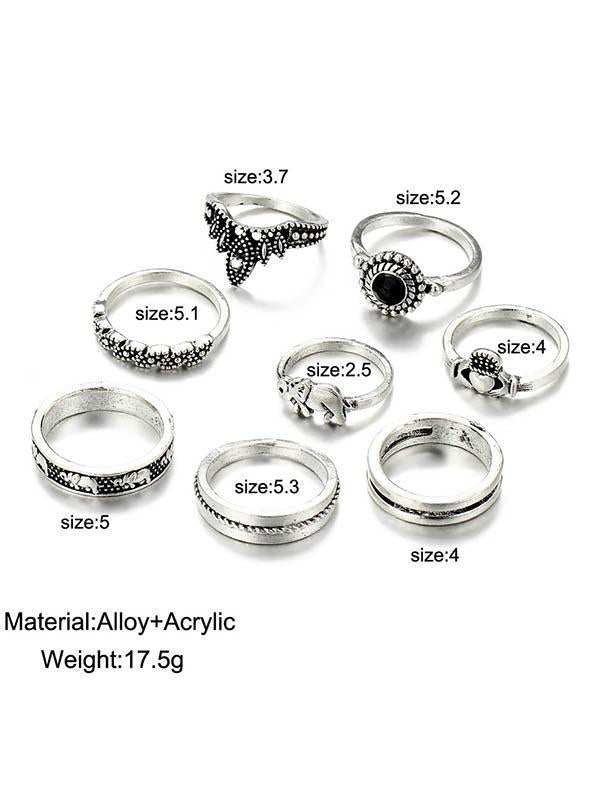 8pcs Vintage Carving Crown Loving Heart Rings Accessories