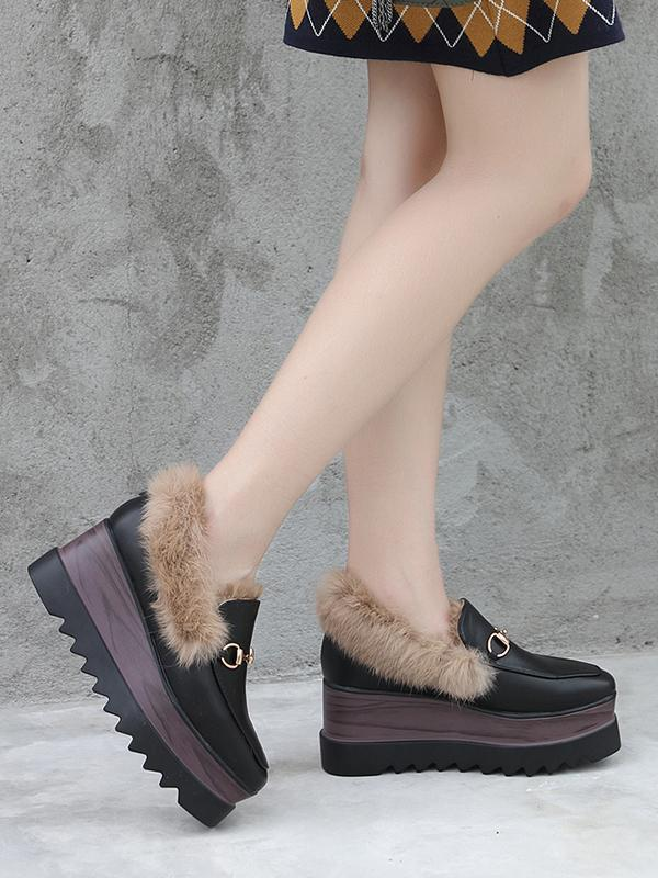 Artificial Fur High-Heeled Platform Korean Rabbit Shoes