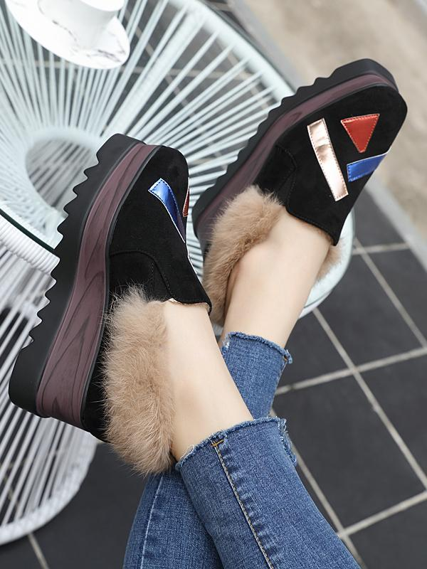 Thick-Soled High-Heeled Wedge With Fur Fringe Shoes