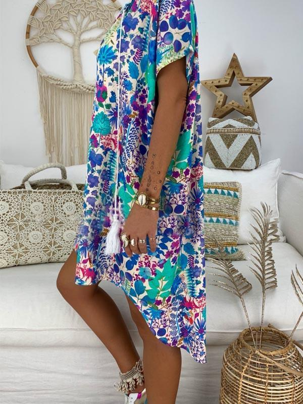Tasseled V-neck Printed Mini Dress