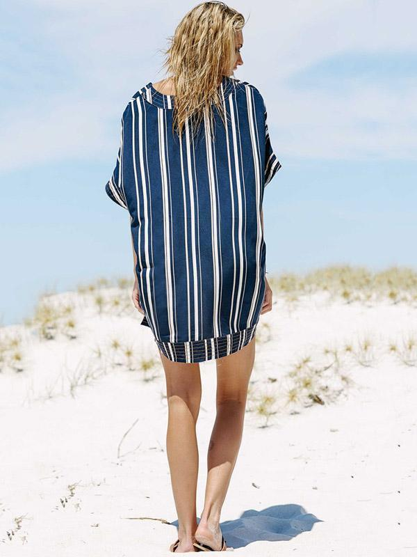 Stripes V-neck Cover-Ups Swimwear