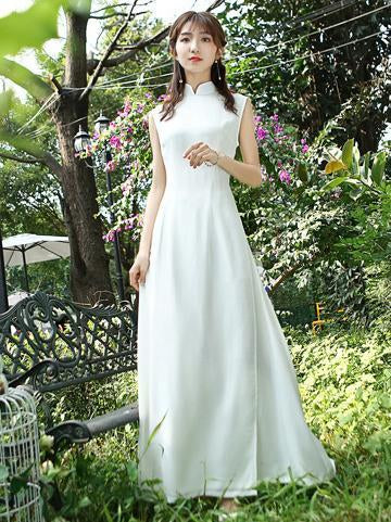 White Tradition Sleeveless Cheongsam Ao Dai