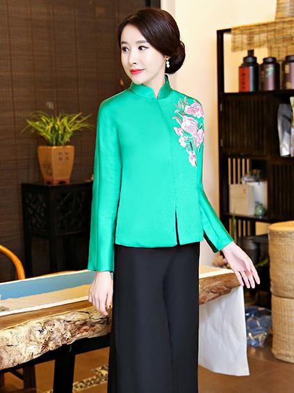 Red&Green Embroidered Cheongsam Tops