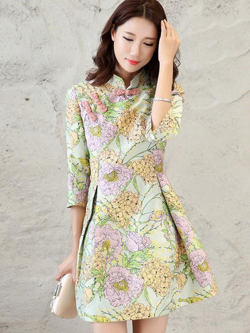 Green A Line Short Cheongsam Mini Dress