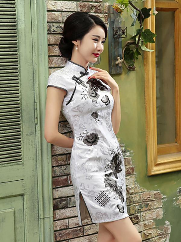 White Floral Print Split-side Short Cheongsam