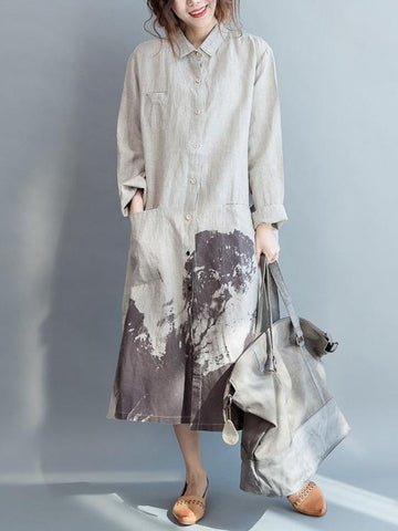 Cotton Long Loose Dress with Natural Sketch Print