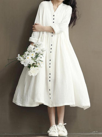 Casual White Loosen Dress with Buttons and Long Sleeves