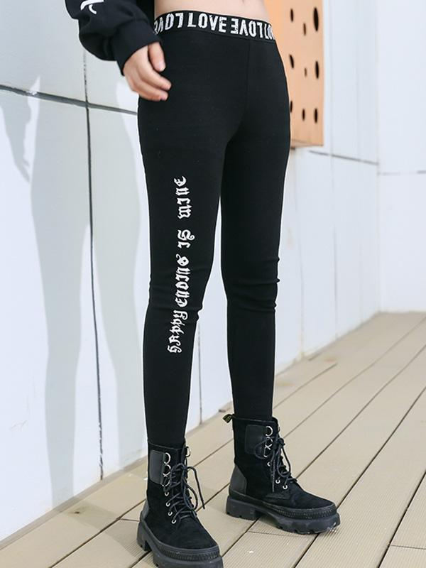 Printed Solid Wrap Elastic Pants