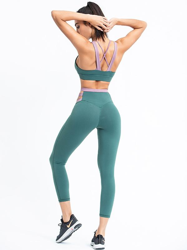 Sexy Sleeveless Contrast Color Yoga Suits