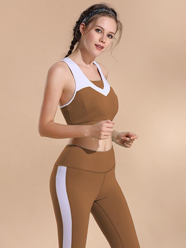 Two Tone Racerback Sports Bra And Leggings Suits