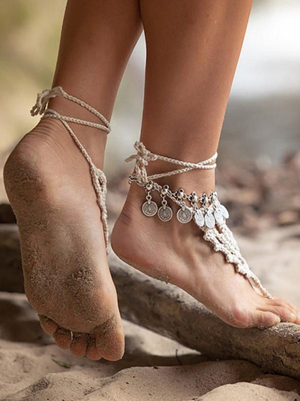 Vintage Metal Tassel Bohemian Gold Coin Foot Chain Accessory