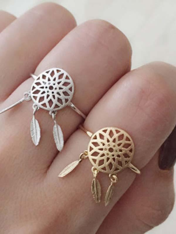 Vintage Hollow Feather Rings Accessories