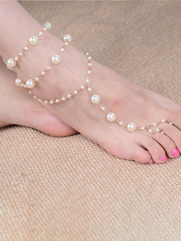 Simple Wild Pearls Foot Chain Accessory