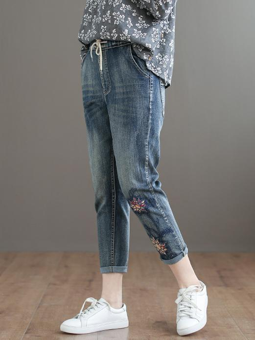 Embroidered Strap Elastic National Jeans Bottom