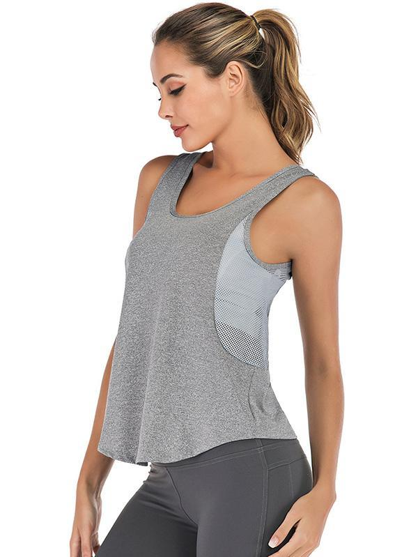 Side Mesh Solid Yoga Tanks