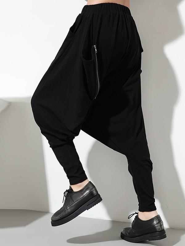 Zipper Simple Loose Solid Harem Pants