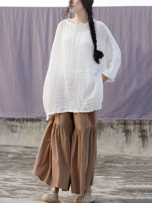 Ramie Cotton Elastic Loose Wide-leg Pants