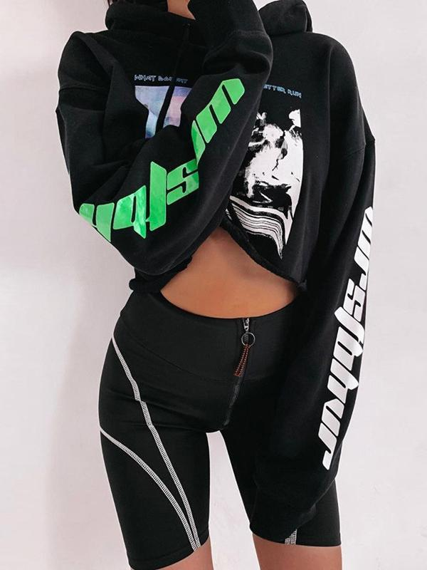Zipper Letter Printed Sports Shorts