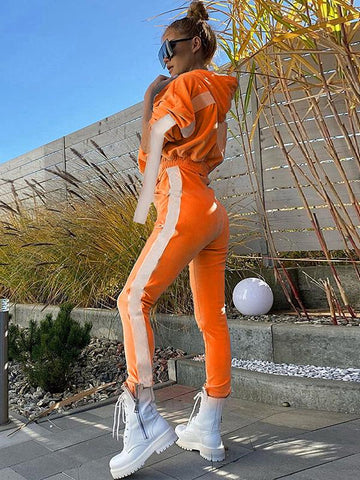 Fashion 2 Colors Sports Top And Athletic Pants Suits