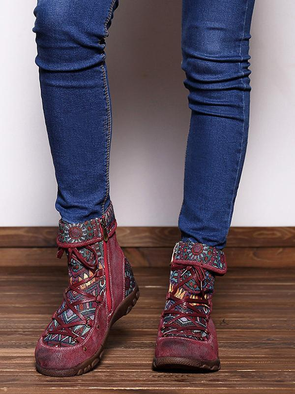 Printed Zipper Bandage Leather Boots