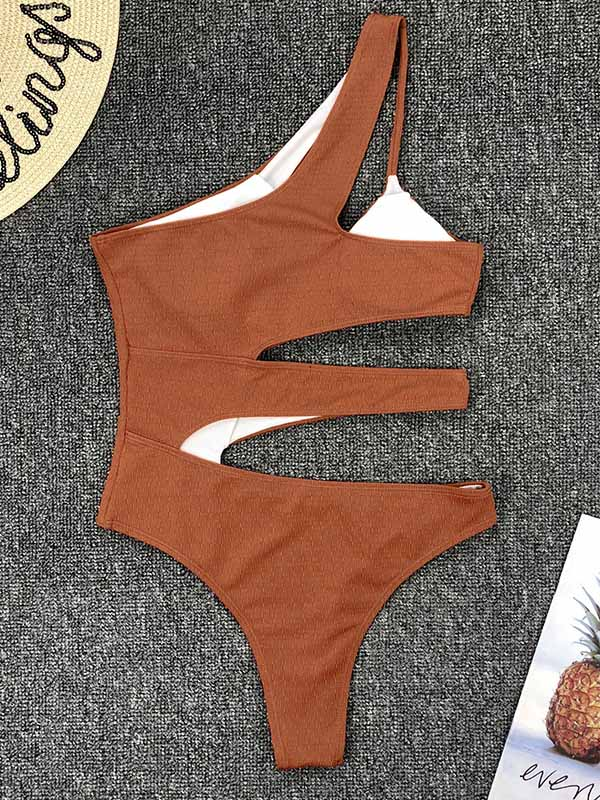 Sexy One-Shoulder Hollow One-Piece Swimwear