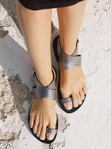 Casual Fashion Sandals Shoes in Silver or Gold Color