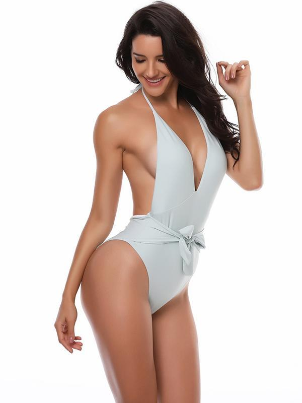 V-neck Empire One-piece Swimwear