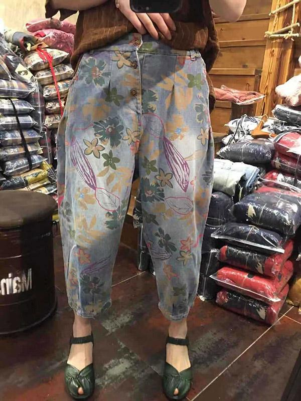 Ariginal Loose Casual Prints Jeans Pants