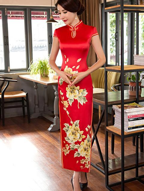 Red Side Split Long Cheongsam Dress