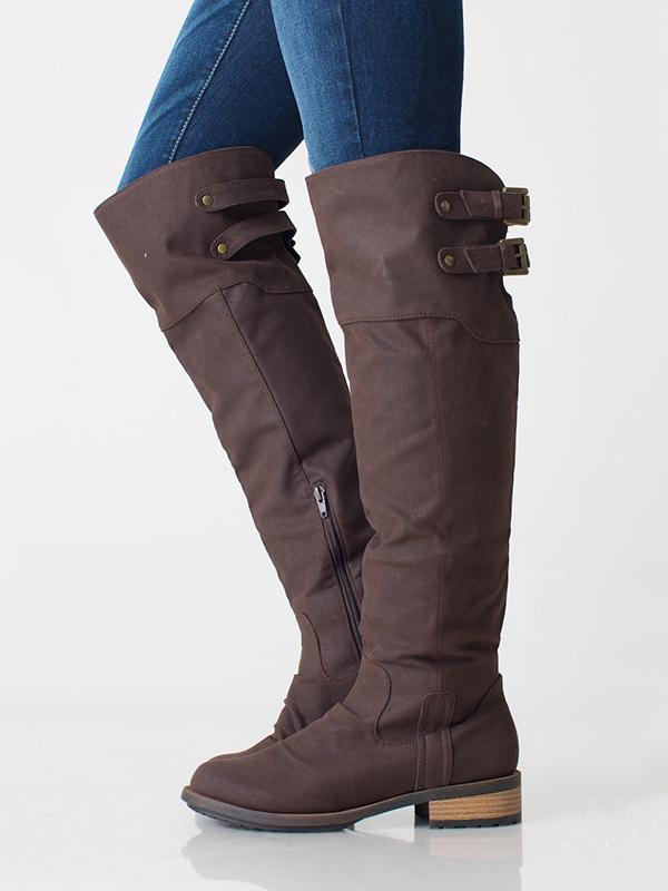 Fashion Solid Flat Knee High Boots