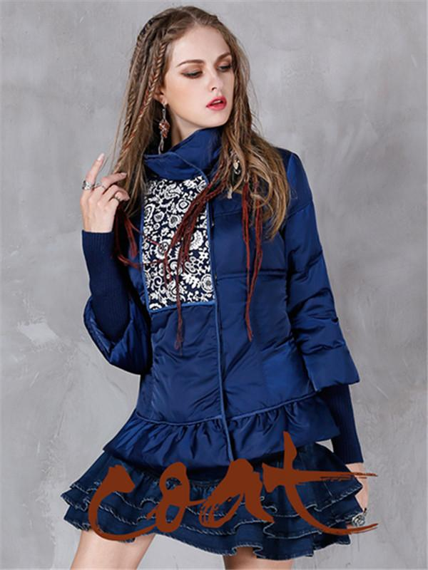 Winter New Printed Thickened Coat Retro-stitching Lotus Leaf Warm Down