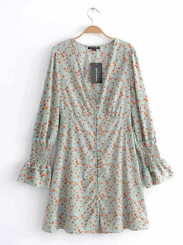 V-neck Floral Long Sleeves Button Front Mini Dress