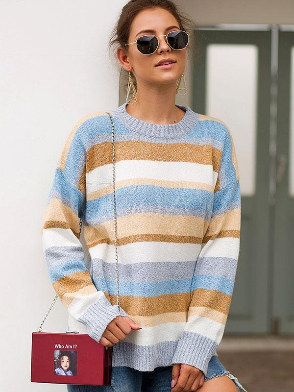 Two-tone Flocked Striped Loose Sweater