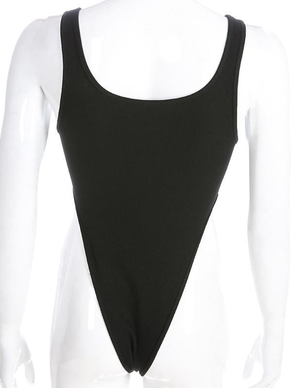 Sleevelss Side Hollow Bodysuits