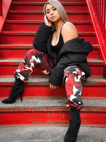 Plus Size Red Grey Camouflage Printed Track Pants