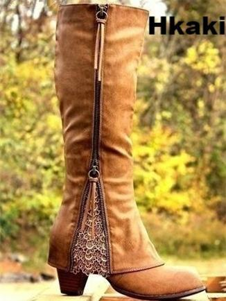 Zipper Tassels High Heels Boots Shoes