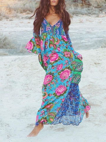 Flared Sleeves V-neck Bohemia Dress