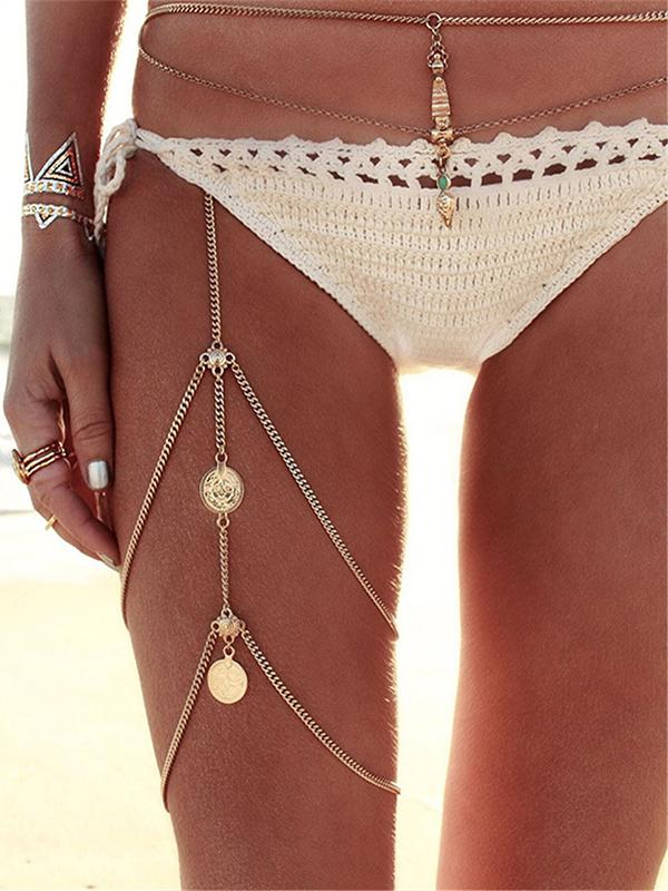 Retro Sexy Multi-Layer Tassel Coin Leg Chain Body Accessory