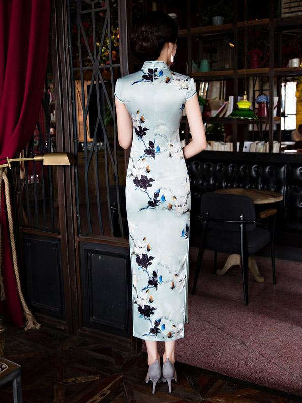 Vintage Print Stand Collar Long Cheongsam Dress