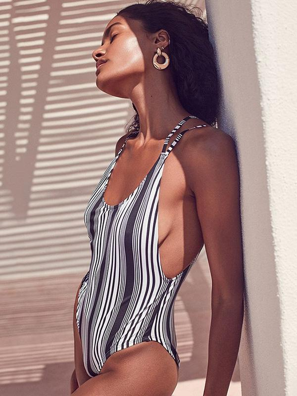 Sexy Striped Backless One-piece Bikini Swimwear