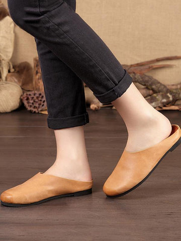 Simple Literature Cowhide Slipper