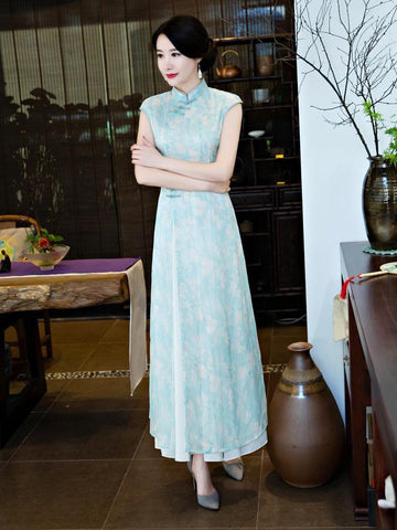 Chiffon Blue&Pink Split-side Ao Dai Cheongsam