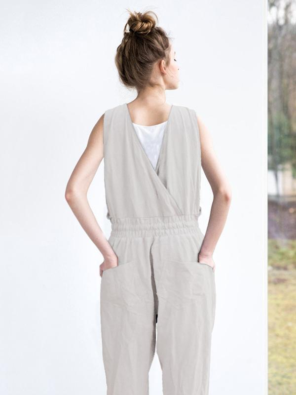 Simple Gray Sleeveless Round-neck Jumpsuits