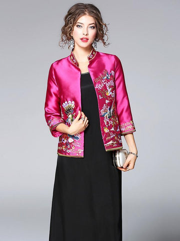 Fuschia Embroidered Cheongsam Tops Outwears