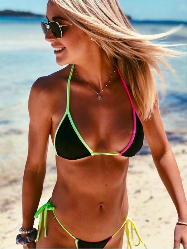 Sexy Halter-neck Lace-Up Bikinis Swimwear