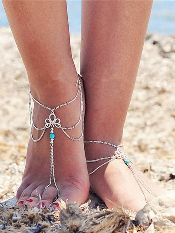 Retro Turquoise Tassel Foot Chain Accessory